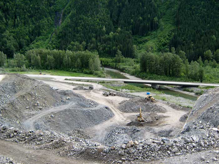 Pine Pass Quarry sourced by Nahanni to supply the Ministry of Transportation with road repair materials